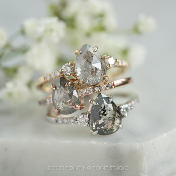 1.10ct Salt & Pepper Pear Diamond Engagement Ring, Ombre Jules Setting, 14K Rose Gold
