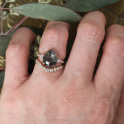 4.05ct Black Speckled Pear Diamond Engagement Ring, Eliza Setting, 14K Rose Gold