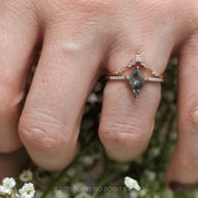 1.19ct Salt & Pepper Kite Diamond Engagement Ring, Jules setting, 14K Rose Gold