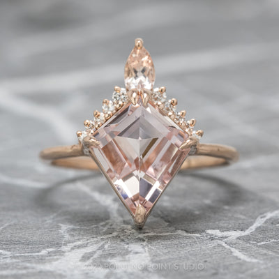 2.61 Carat Kite Morganite Engagement Ring, Ava Setting, 14K Rose gold