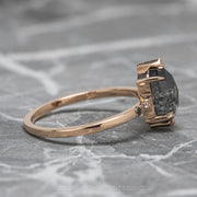 2.22ct Black Speckled Hexagon Diamond Engagement Ring, Ombre Sirena Setting, 14k Rose Gold