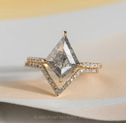 2.31ct Salt & Pepper Kite Diamond Engagement Ring, Jules Setting, 14K Yellow Gold