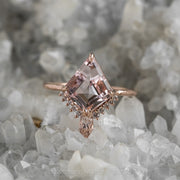2.48ct Kite Morganite Engagement Ring, Ava Setting, 14K Rose Gold