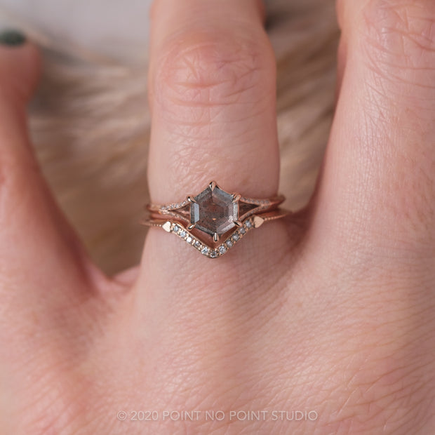 1.05ct Grey Speckled Hexagon Diamond Engagement Ring, Mackenzie Setting, 14K Rose Gold