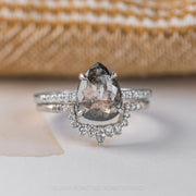 3.07ct Salt & Pepper Pear Diamond Engagement Ring, Jules Setting, 14K White Gold