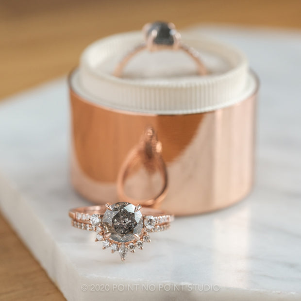 2.32ct Salt & Pepper Brilliant Cut Diamond Engagement Ring, Eliza Setting, 14K Rose Gold