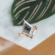 2.81ct Black Speckled Kite Diamond Engagement Ring, Jane Setting, 14k Rose Gold