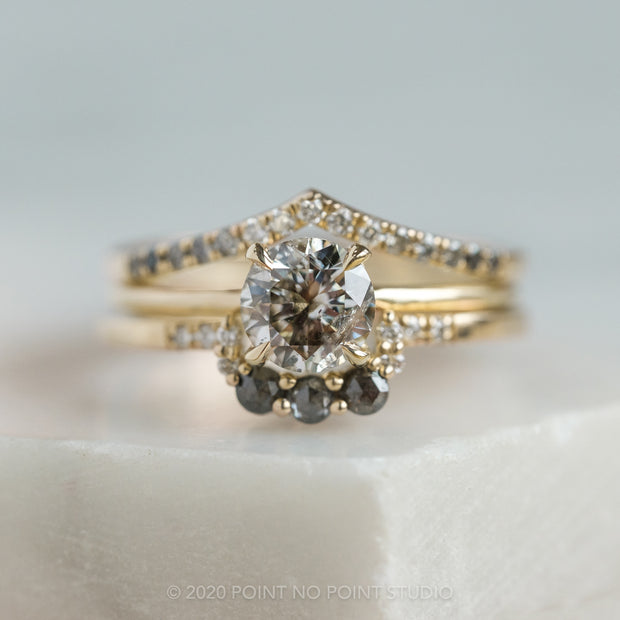1ct Salt & Pepper Brilliant Cut Diamond Engagement Ring, Jane Setting, 14K Yellow Gold