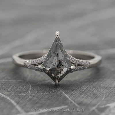 1.55ct Salt & Pepper Kite Diamond Engagement Ring, River Setting, Platinum