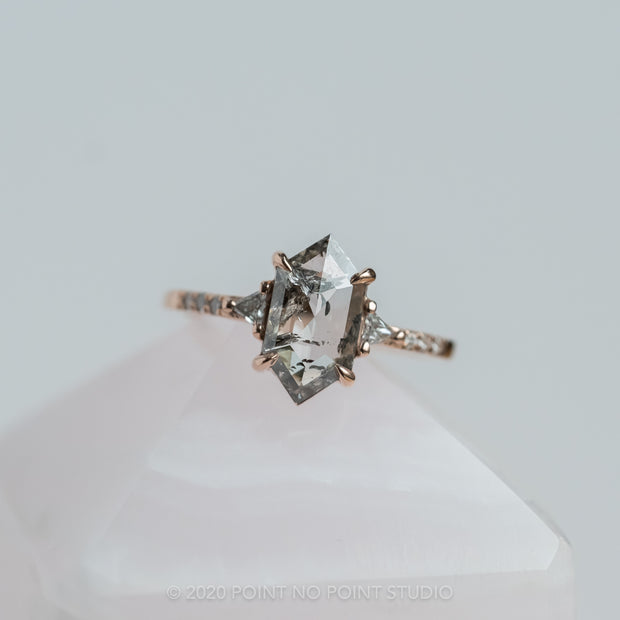 Translucent Salt & Pepper Hexagon Diamond Engagement Ring