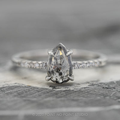1.03ct Salt & Pepper Pear Diamond Engagement Ring, Jules Setting, 14K White Gold