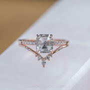 2.12ct Translucent Salt & Pepper Asscher Shaped Diamond Engagement Ring, Jules Setting, 14K Rose Gold