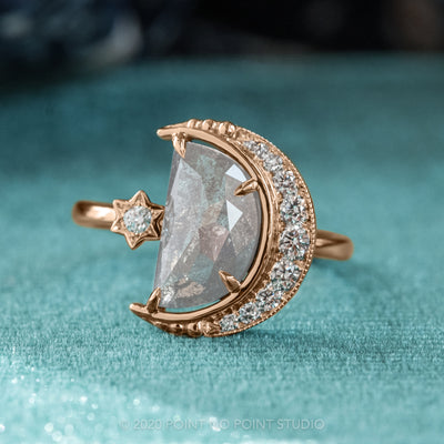2.07ct Grey Speckled Crescent Moon Engagement Ring, Starling Setting, 14K Rose Gold