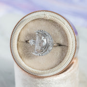 2.07ct Grey Speckled Crescent Moon Engagement Ring, Starling Setting, 14K White Gold