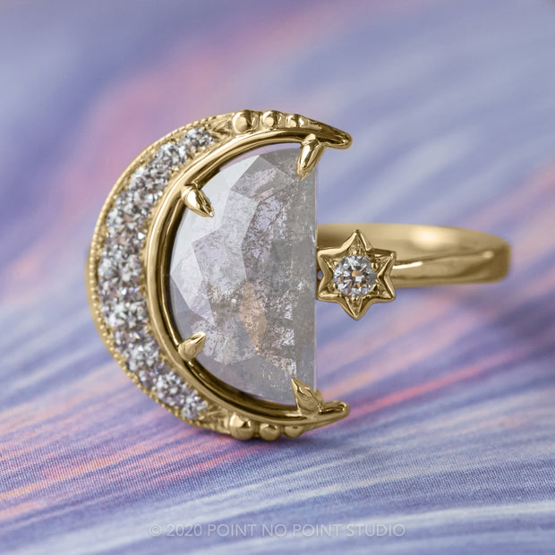 2.07ct Grey Speckled Crescent Moon Engagement Ring, Starling Setting, 14K Yellow Gold