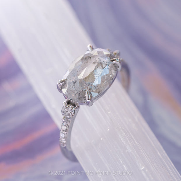 3.16 Carat Icy White Oval Rose Cut Diamond Engagement Ring, Eliza Setting, 14K White Gold