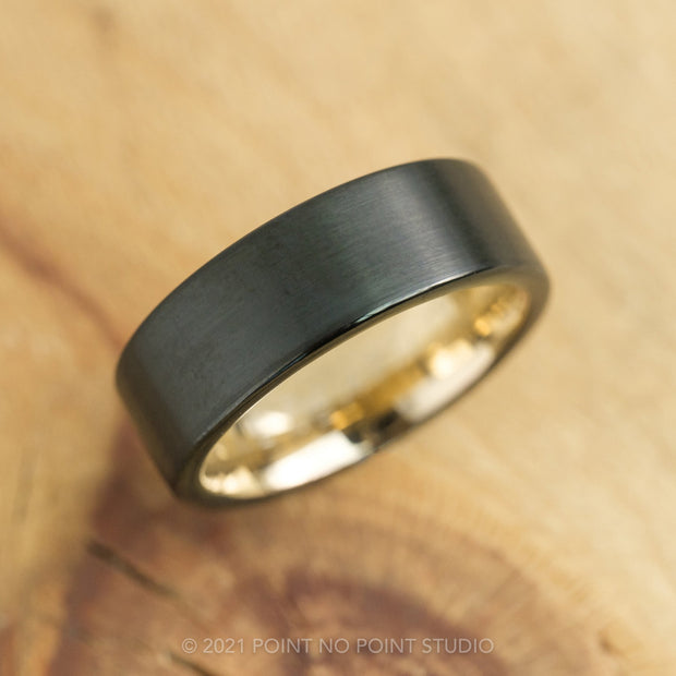 8mm Men's Tungsten Ring with 18K Yellow Gold Plating