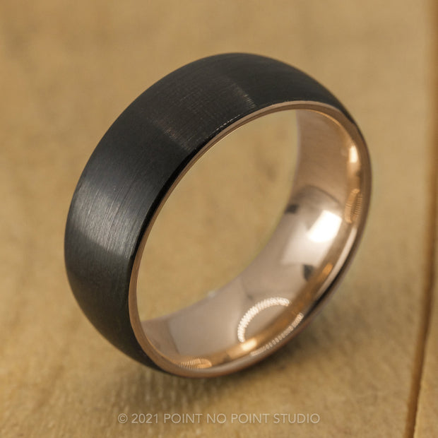 8mm Men's Tungsten Ring with 18K Rose Gold Plating