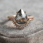 4.97ct Black Speckled Pear Diamond Engagement Ring, Jules Setting, 14K Rose Gold
