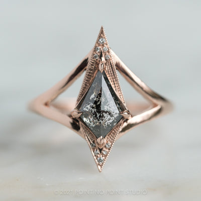 1.07ct Black Speckled Kite DIamond Engagement Ring, Arwen Setting, 14K Rose Gold