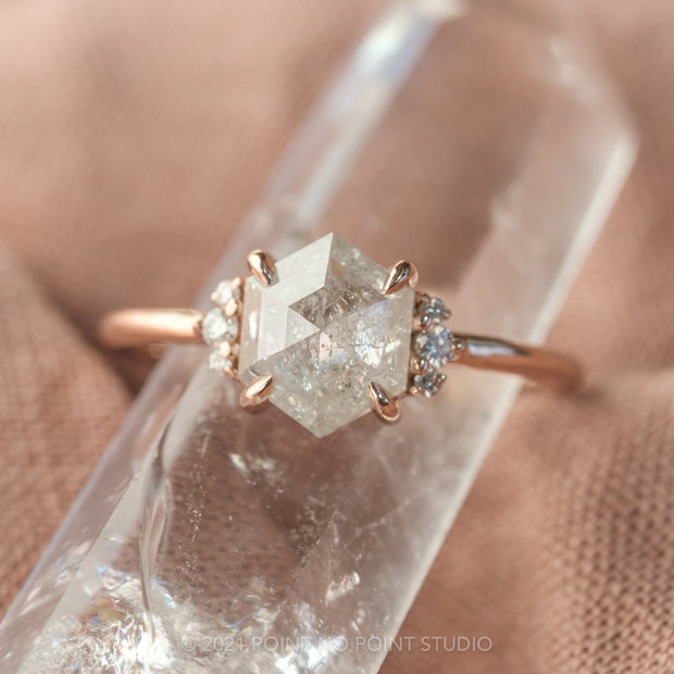 1.55ct Icy White Hexagon Diamond Engagement Ring, Charlotte Setting, 14K Rose Gold