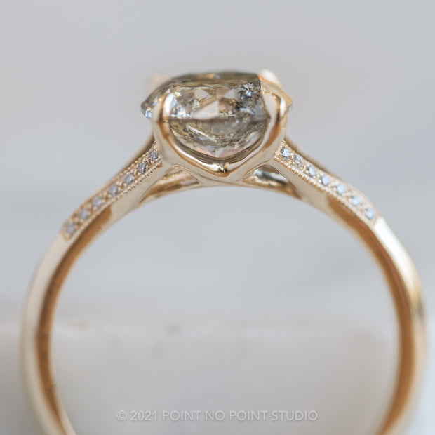 1.12ct Salt & Pepper Diamond Engagement Ring, Mackenzie Setting, 14K Yellow Gold