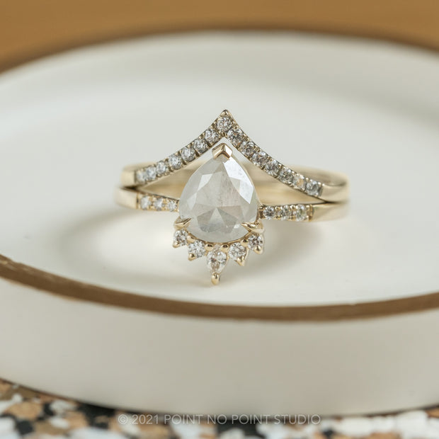 1.58ct Icy White Pear Diamond Engagement Ring, Tapered Ava Setting, 14K Yellow Gold
