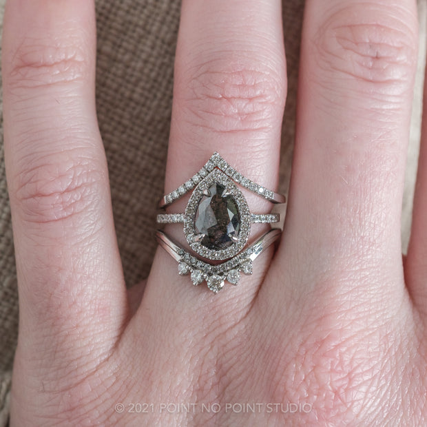 1.72ct Black Speckled Pear Diamond Engagement Ring, Fiona Setting, 14K White Gold