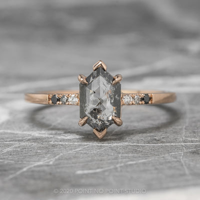 1.11ct Salt & Pepper Hexagon Diamond Engagement Ring, Sirena Setting, 14K Rose Gold