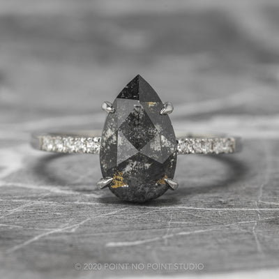3.49ct Black Speckled Pear Diamond Engagement Ring, Jules Setting, 14K White Gold