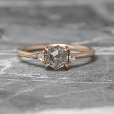 1.15ct Grey Speckled Hexagon Diamond Engagement Ring, Zoe Setting, 14K Rose Gold