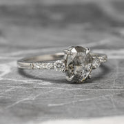 1.14ct Salt & Pepper Oval Diamond Engagement Ring, Eliza Setting, 14K White Gold