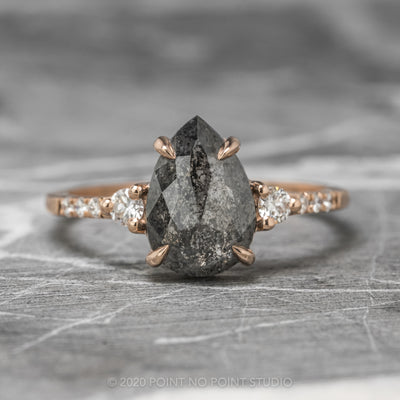 2.64ct Black Speckled Pear Diamond Engagement Ring, Eliza Setting, 14K Rose Gold