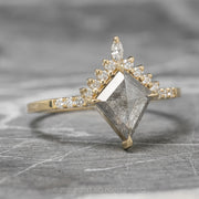 1.15ct Salt & Pepper Kite Diamond Engagement Ring, Ava Setting, 14K Yellow Gold