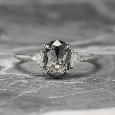 1.04ct Semi Translucent Black Oval Diamond Engagement Ring, Zoe Setting, 14K White Gold
