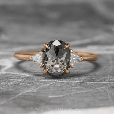 1.02ct Semi Translucent Black Oval Diamond Engagement Ring, Zoe Setting, 14K Rose Gold
