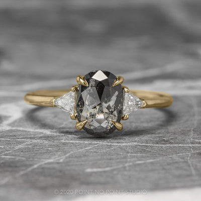 1.02ct Semi Translucent Black Oval Diamond Engagement Ring, Zoe Setting, 14K Yellow Gold