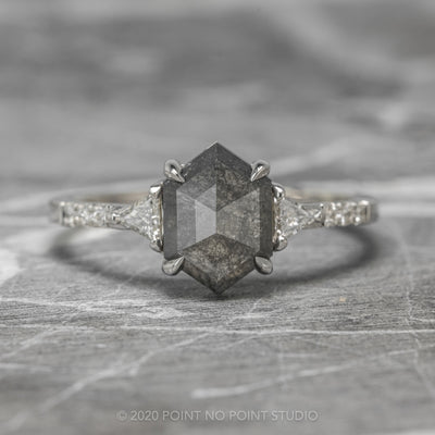 1.99ct Black Speckled Hexagon Diamond Engagement Ring, Eliza Setting, 14K White Gold