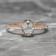 1.39ct Translucent Salt & Pepper Oval Diamond Engagement Ring, Jules Setting, 14K Rose Gold