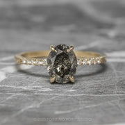1.95ct Salt & Pepper Brilliant Cut Oval Diamond Engagement Ring, Jules Setting, 14K Yellow Gold