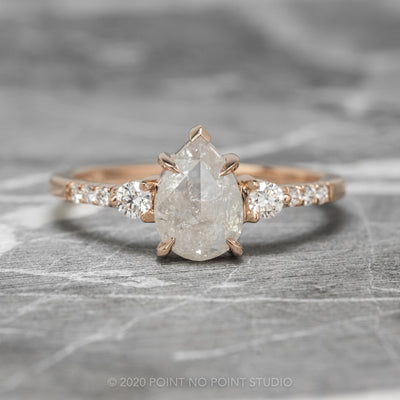 1.22ct Icy White Pear Diamond Engagement Ring, Eliza Setting, 14K Rose Gold