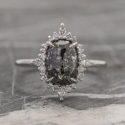 2.88ct Black Speckled Oval Diamond Engagement Ring, Cosette Setting, 14K White Gold