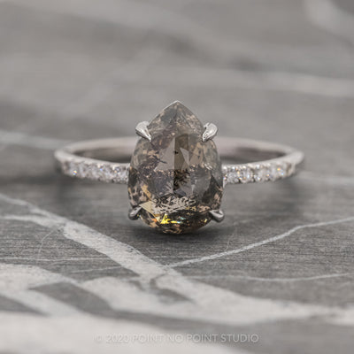 3.36ct Black Speckled Pear Diamond Engagement Ring, Jules Setting, 14K White Gold