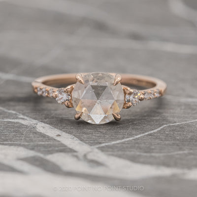 1.52ct Icy White Round Diamond Engagement Ring, Eliza Setting, 14K Rose Gold
