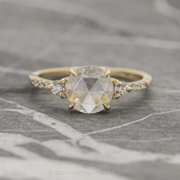1.60ct Icy White Round Diamond Engagement Ring, Eliza Setting, 14K Yellow Gold