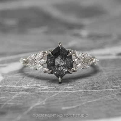 1.5ct Black Speckled Hexagon Diamond Engagement Ring, Winnie Setting, 14K White Gold