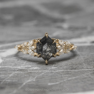 1.5ct Black Speckled Hexagon Diamond Engagement Ring, Winnie Setting, 14K Yellow Gold