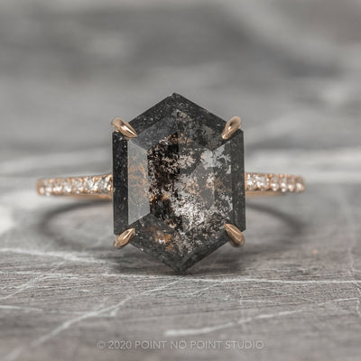 2.57ct Black Speckled Hexagon Diamond Engagement Ring, Jules Setting, 14K Rose Gold