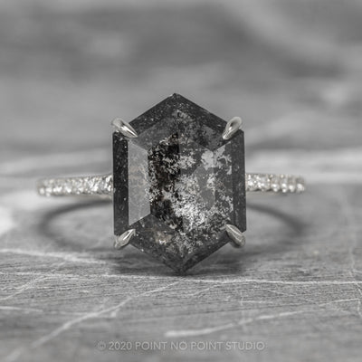 2.57ct Black Speckled Hexagon Diamond Engagement Ring, Jules Setting, 14K White Gold