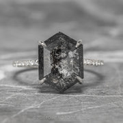 2.57ct Black Speckled Hexagon Diamond Engagement Ring, Jules Setting, Platinum